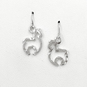 Alpaca Huacaya Open Silhouette Earrings - 14K White Gold on French wires