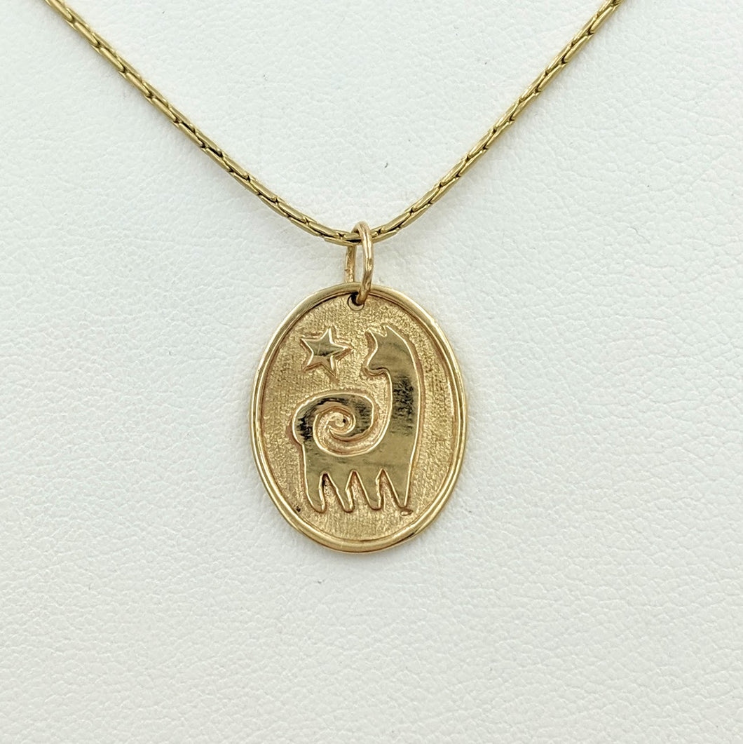 Alpaca or Llama Reflection Petrogylph Pendant with Star  Smooth rim 14K Yellow Gold