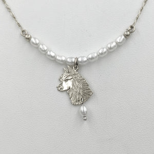 Alpaca Huacaya Freshwater Pearl Bar Necklace with Huacaya Head Charm and Pearl Dangle Accent 14K White Gold