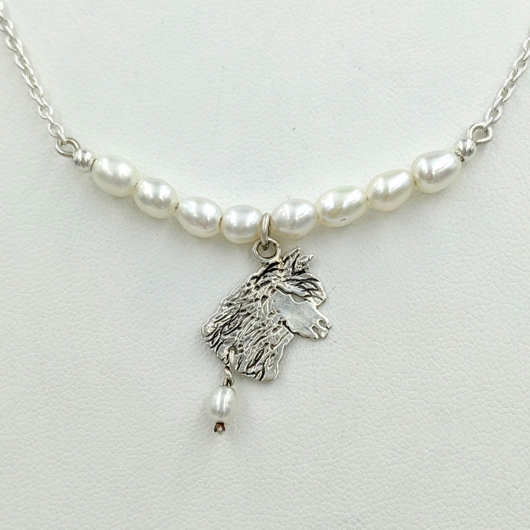 Alpaca Huacaya Freshwater Pearl Bar Necklace with Huacaya Head Charm and Pearl Dangle Accent - Sterling Silver