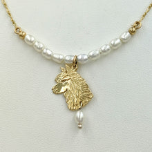 Load image into Gallery viewer, Alpaca Huacaya Freshwater Pearl Bar Necklace with Huacaya Head Charm and Pearl Dangle Accent 14K Yellow Gold