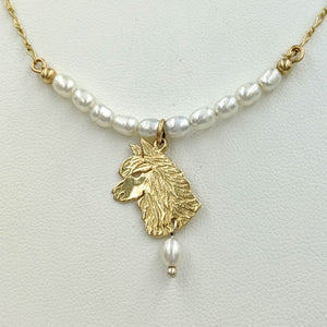 Alpaca Huacaya Freshwater Pearl Bar Necklace with Huacaya Head Charm and Pearl Dangle Accent 14K Yellow Gold