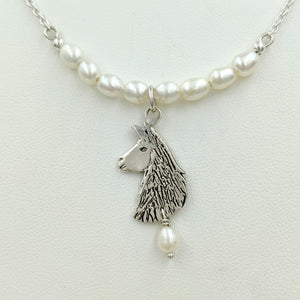 Llama Freshwater Pearl Bar Necklace with Llama Head Charm and Pearl Dangle Accent - Sterling Silver