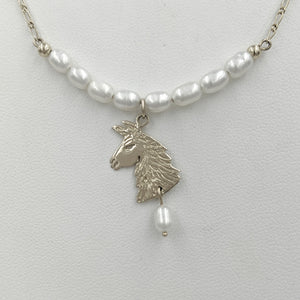 Llama Freshwater Pearl Bar Necklace with Llama Head Charm and Pearl Dangle Accent -14K White Gold
