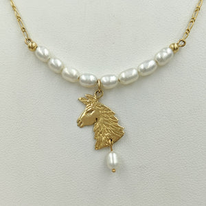 Llama Freshwater Pearl Bar Necklace with Llama Head Charm and Pearl Dangle Accent -14K Yellow Gold