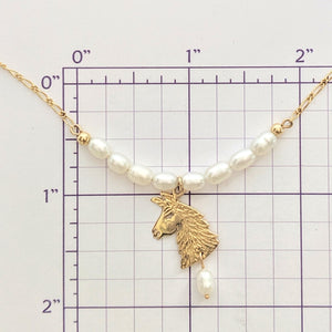 Llama Pearl Bar Necklace with Llama Head Charm and Pearl Dangle Accent
