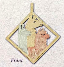 Load image into Gallery viewer, Custom  Diamond Shaped Pendant with a 14K Yellow Gold Llama Head, a 14K Rose Gold Huacaya Alpaca Head  and a 14K White Gold Suri Alpaca Head  (Front Side)