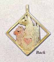 Load image into Gallery viewer, Custom  Diamond Shaped Pendant with a 14K Yellow Gold Llama Head, a 14K Rose Gold Huacaya Alpaca Head and a 14K White Gold Suri Alpaca Head also a 14K Rose Gold Heart Accent (Back Side)