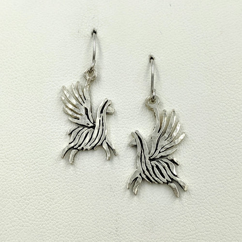 Alpaca or Llama Winged Soaring Spirit Earrings - Sterling Silver on French Wires