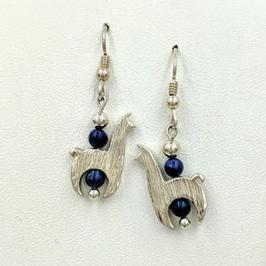 Llama Crescent Earrings WithLapis Gemstone Beads - Sterling Silver  Fiber and Shiny Finish on French Wires