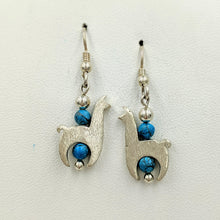 Load image into Gallery viewer, Llama Crescent Earrings With Turquoise Gemstone Beads - Sterling Silver  Smooth and Satin Finish on French Wires