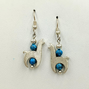 Llama Crescent Earrings With Turquoise Gemstone Beads - Sterling Silver  Smooth and Satin Finish on French Wires