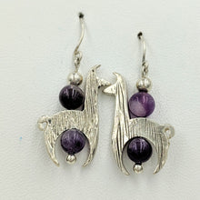 Load image into Gallery viewer, Llama Crescent Earrings With Amethyst Gemstone Beads - Sterling Silver  Fiber and Shiny Finish on French Wires
