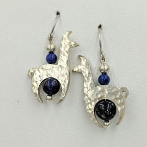 Llama Crescent Earrings WithLapis Gemstone Beads - Sterling Silver  Hammered and Shiny Finish on French Wires