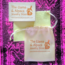 Load image into Gallery viewer, Llama and Alpaca Jewelry Store Satin Pouch, Box and Complimentary Polishing Cloth