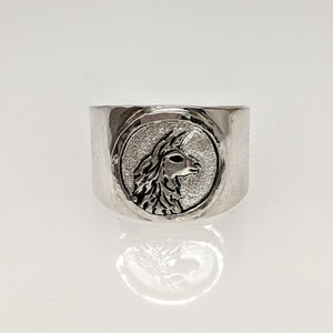 Llama Silhouette Profile Coin Ring -  Hammered Rim Sterling Silver