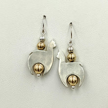 Load image into Gallery viewer, Alpaca Huacaya Crescent Earrings With Gold-Filled Beads & Satin Finish - Unique design; Sterling silver Alpaca - hand-made accented with gold-filled beads & hanging on French wires.