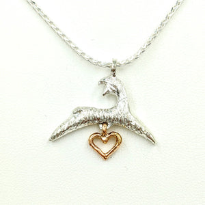 Alpaca or Llama Springing Spiriting Crescent Pendant - Sterling Silver with 14K Rose Gold Open Heart Dangle