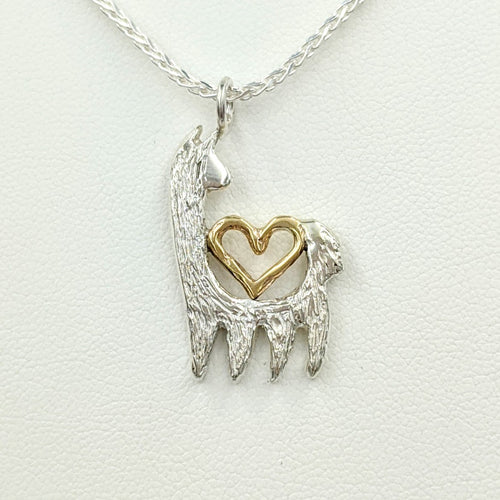 Alpaca or Llama Reflection Open Heart Pendant  - Sterling Silver with 14K Yellow Gold Heart Accent