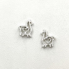 Load image into Gallery viewer, Alpaca or Llama Compact Open Heart Earrings - Sterling Silver on Posts