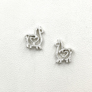 Alpaca or Llama Compact Open Heart Earrings - Sterling Silver on Posts