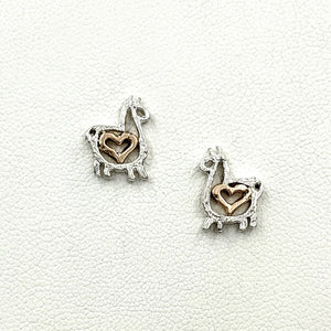 Alpaca or Llama Compact Open Heart Earrings - Sterling Silver with 14K Rose Gold Heart Accent on Posts