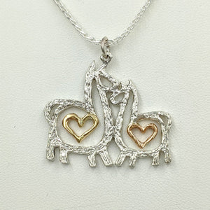 Alpaca or Llama Duo Compact Open Heart Pendant - Sterling Silver with 14K Yellow Gold and 14K Rose Gold Heart Accent Dangles
