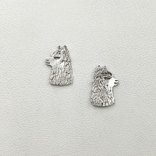 Load image into Gallery viewer, Alpaca Huacaya Head  Silhouette Earrings - Sterling Silver on Posts