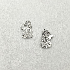 Alpaca Huacaya Head  Silhouette Earrings - Sterling Silver on Posts