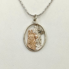 Load image into Gallery viewer, Alpaca Huacaya and Suri Duo Open View Pendant - 14K White Gold rim and Huacaya Alpaca head with 14K Rose Gold Suri Head