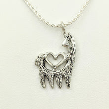 Load image into Gallery viewer, Alpaca or Llama Reflection Open Heart Pendant - Sterling Silver