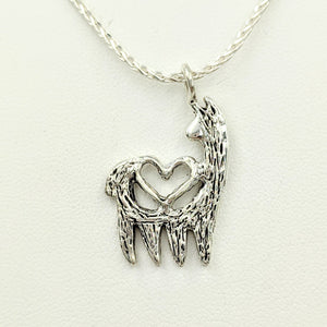 Alpaca or Llama Reflection Open Heart Pendant - Sterling Silver