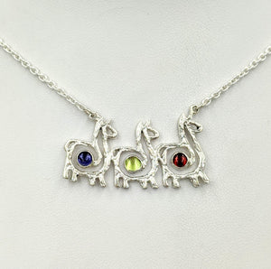 Alpaca or Llama Compact Spiral Bar Necklace with Cabochon Gemstones - Iolite, Peridot and Garnet