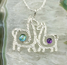Load image into Gallery viewer, Alpaca or Llama Duo Compact Spiral Pendant with Cabochon Gemstones - Sterling Silver with Amethyst and blue Topaz