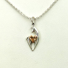 Load image into Gallery viewer, Alpaca or Llama Spirit Crescent Pendant with Heart Accent
