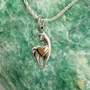 Alpaca or Llama Spirit Crescent Pendant with Heart Accent