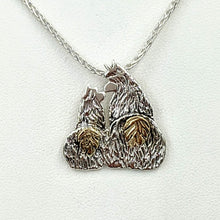 Load image into Gallery viewer, Alpaca Huacaya Kush Kiss Swoosh Tush Pendant - Sterling Silver with 14K Yellow Gold Tails