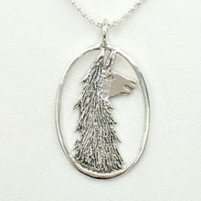 Load image into Gallery viewer, Llama Head Open View Pendant - Sterling Silver