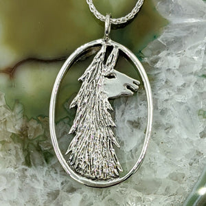 Llama Head Open View Pendant - Sterling Silver
