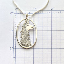 Load image into Gallery viewer, Llama Head Open View Pendant or Pin