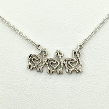Load image into Gallery viewer, Alpaca or Llama Compact Spiral Bar Necklace with Hearts - with 3 animals  - Sterling Silver