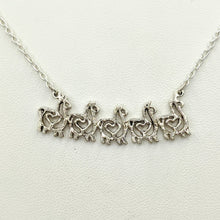 Load image into Gallery viewer, Alpaca or Llama Compact Spiral Bar Necklace with Hearts - with 5 animals -  Sterling Silver