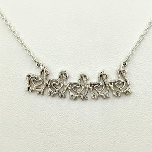 Alpaca or Llama Compact Spiral Bar Necklace with Hearts - with 5 animals -  Sterling Silver