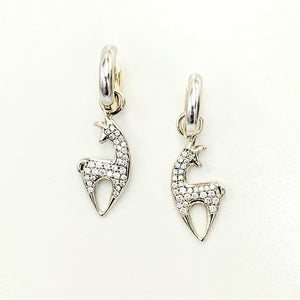 Alpaca or Llama Spirit Crescent Petite Earrings with Pave Diamonds