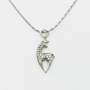 Alpaca or Llama Crescent Pendant with Pave Set Diamonds
