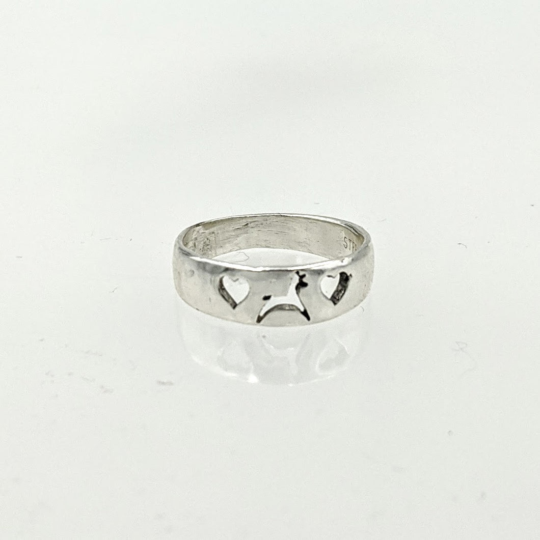 Llama or Alpaca Leaping with Hearts Ring - Delicate and Narrow