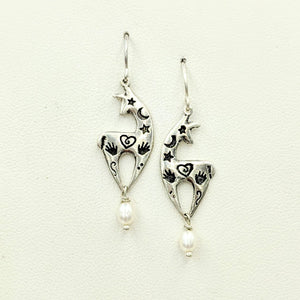 Alpaca or Llama Spirit Image Earrings Sterling Silver with White Freshwater Pearl Dangles