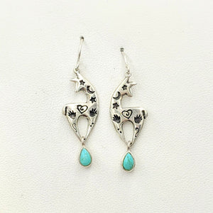 Alpaca or Llama Spirit Image Earrings  - Sterling Silver with Turquoise Teardrop Dangles