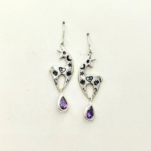 Alpaca or Llama Spirit Image Earrings -  Sterling Silver with Amethyst Teardrop Dangles