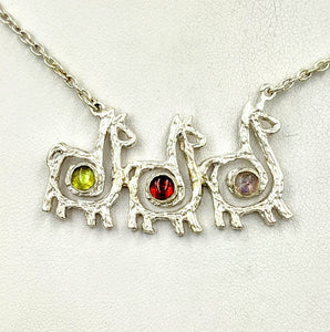 Alpaca or Llama Compact Spiral Bar Necklace with Cabochon Gemstones - 3 Animals